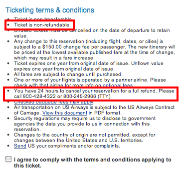 US Airways Ticketing Policy