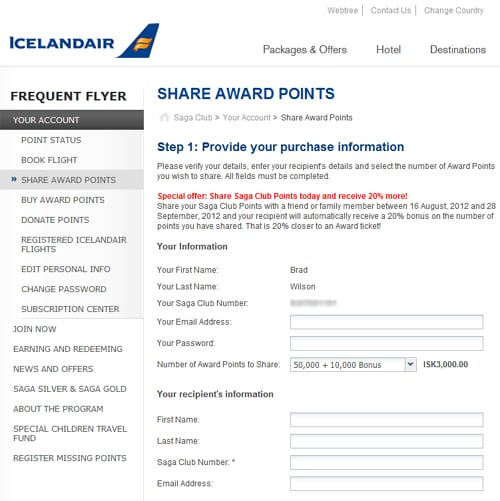 Share Icelandair Award Points