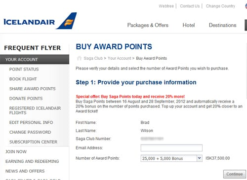 Buy Icelandair Award Points