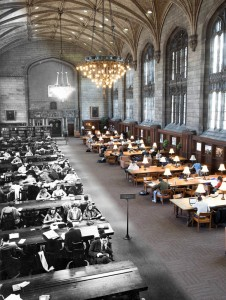 Students in the Library Then and Now