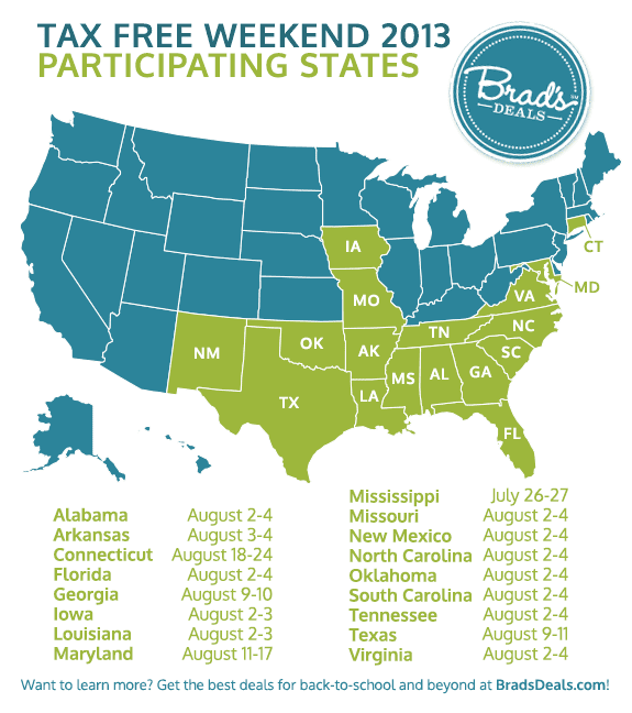 2013 Tax Holiday Map for Back to School