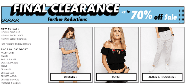 ASOS clearance page