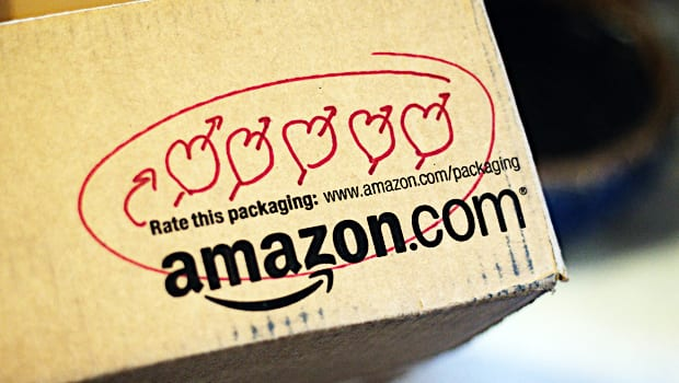 Amazon box with hearts cover