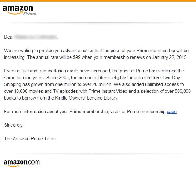 Amazon Prime Price Hike Letter