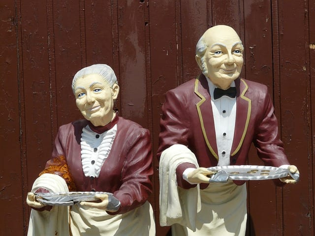 Don't worry, the butlers who serve you on Eithad Airlines aren't quite as terrifying as these statues.