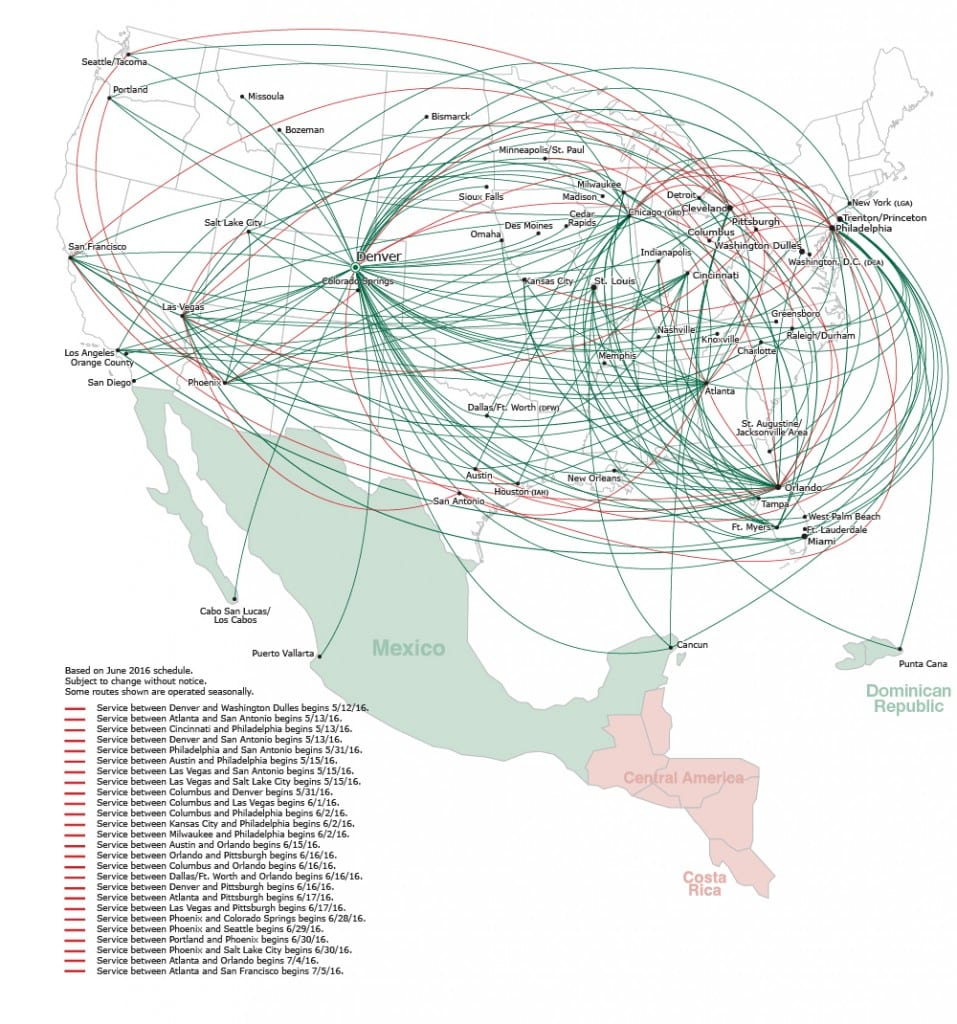 the ultimate guide to flying lowcost airlines spirit frontier  - frontier route map