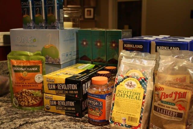 non-perishable food, peanuts, oatmeal, rice and vitamins