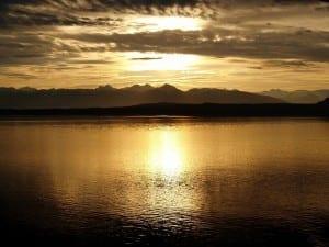 travel deals, Alaska Airlines, an Alaskan sunset