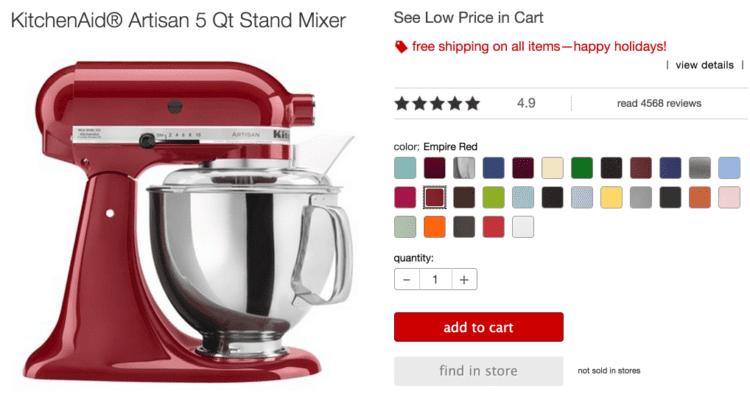 KitchenAid Artisan, 5 qt. stand mixer, Brads Deals