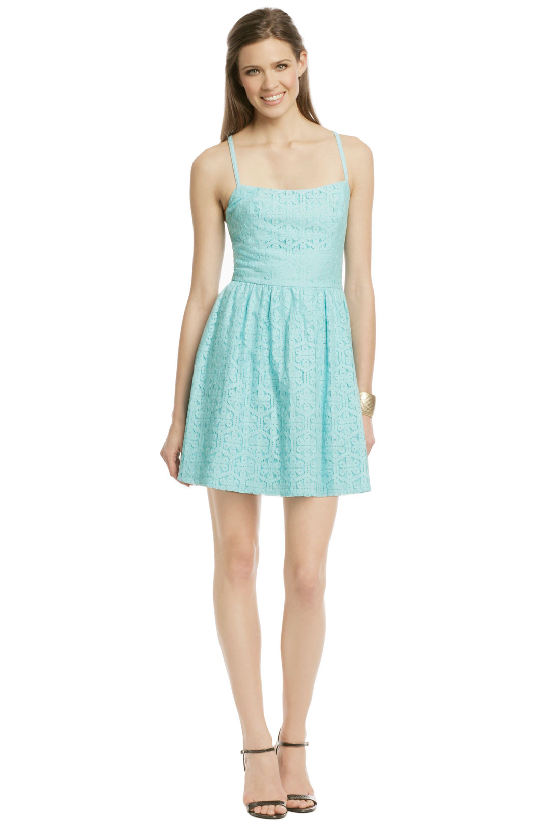 168b5c7d6a I love this simple sundress with a geometric lace overlay for a guest at a  country wedding. The color is bright and modern