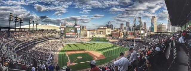 Panoramic of a baseball stadium