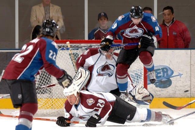 NHL players shooting on goal