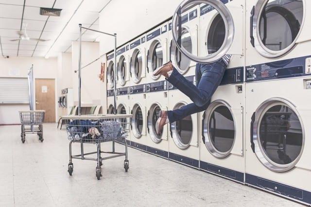 Women stuck in a dryer in a laundrymat