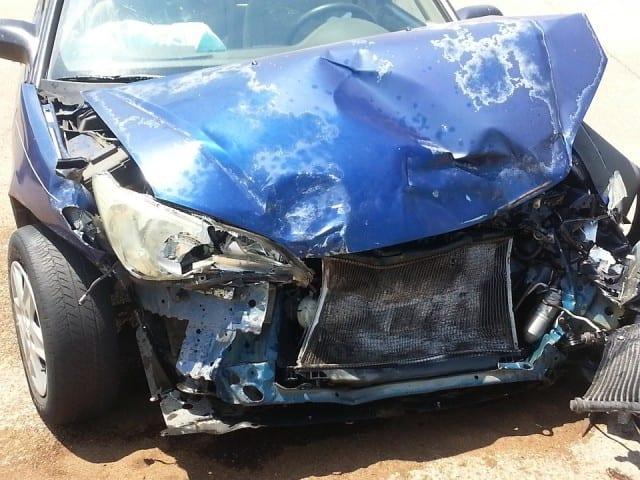 Wreaked blue car