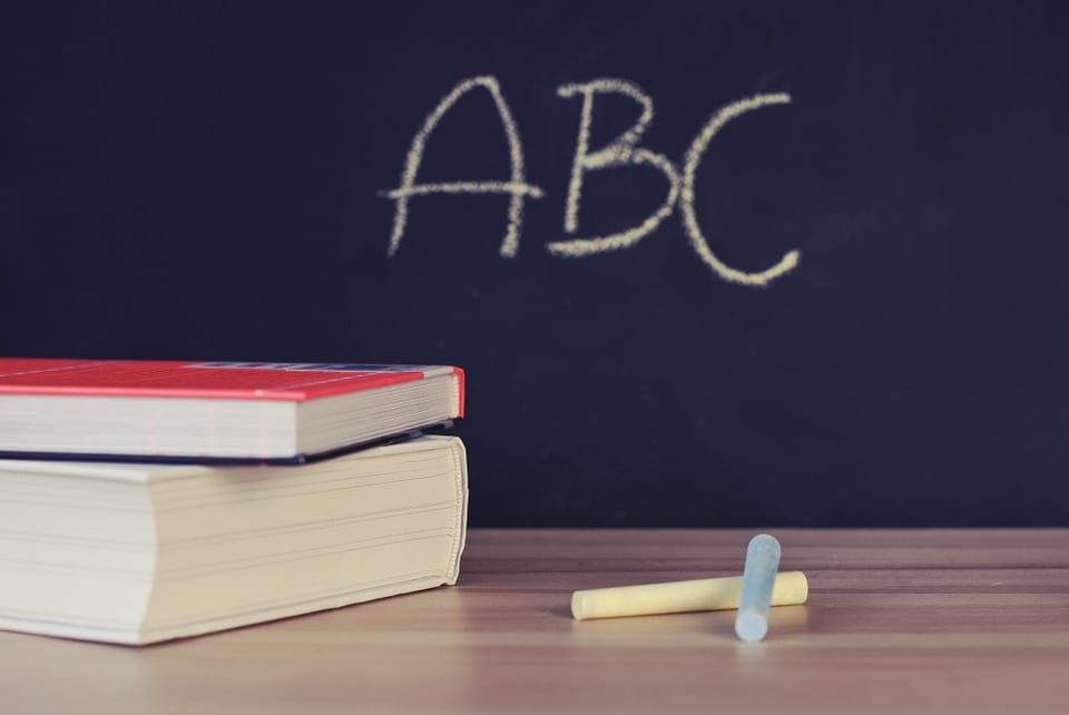 ABC written on a chalk board