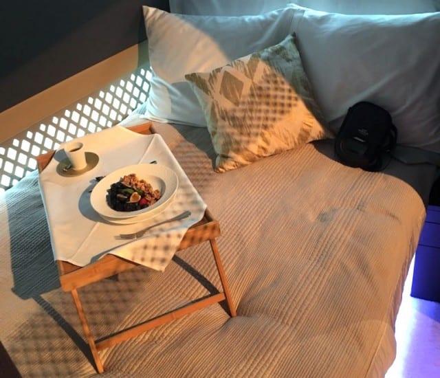 Bedroom setup on an Ethiad plane