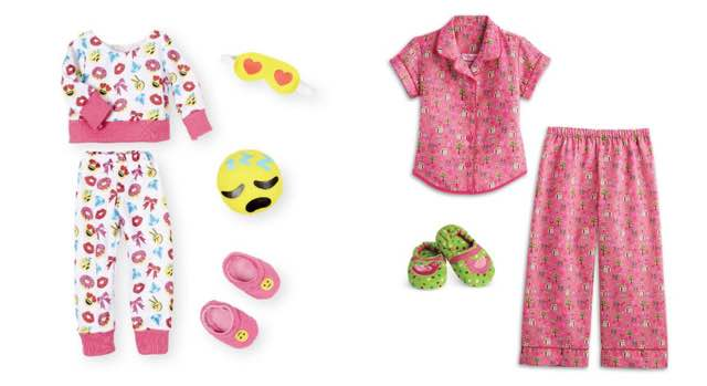 One is by Our Generation, sold at Target for $12.99. The American Girl  outfit costs three times as much at $36. Doll pjs