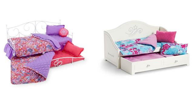 Left: Trundle Bed and Bedding Set - $100.00 at American Girl Right: Journey  Girls Sweet Dreams 2-Doll Bloomin' Trundle Bed - Floral Pattern - $64.99 at  Toys ...