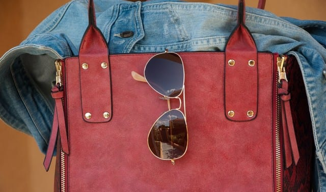 Women's red leather bag