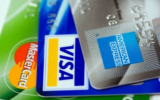close up of three credit cards