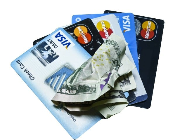 three credit cards fanned out