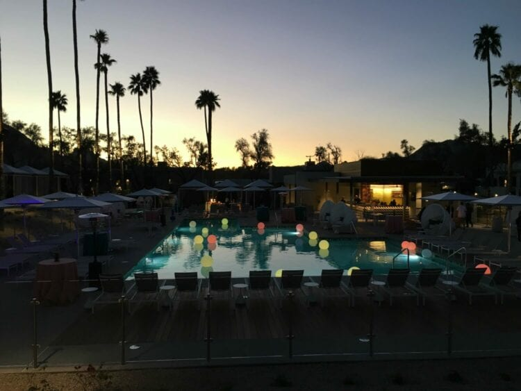 The pool at sunset.