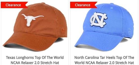 College logo hats