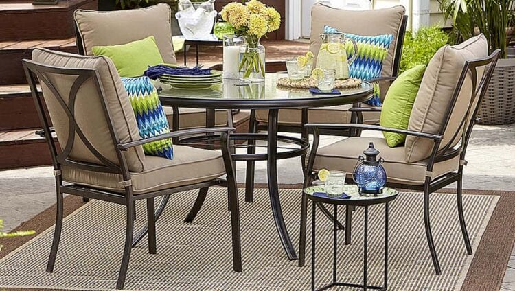 Stunning Garden Oasis Harrison Five Piece Cushion Dining Set with code SEARS at checkout