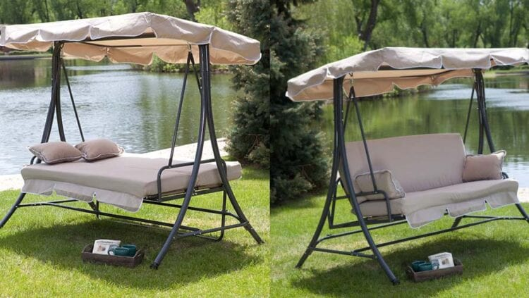 Good Three Person All Weather Swing Bed at Hayneedle with code PORCHSWING at checkout