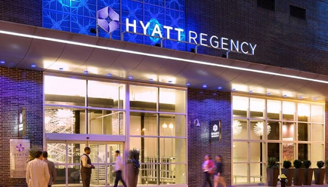 the entrance to the Hyatt Regency Boston
