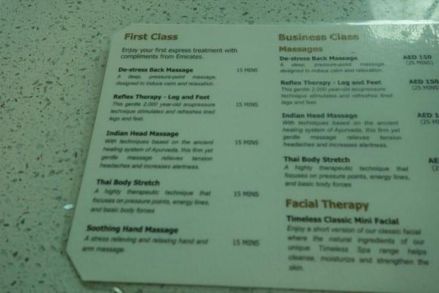 Spa menu