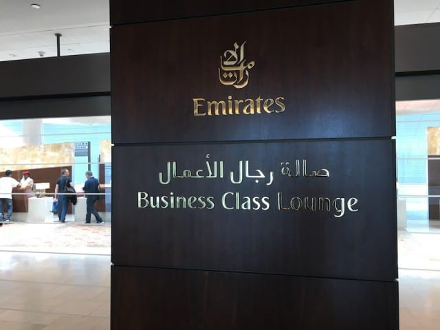 Sign for the Business Class lounge