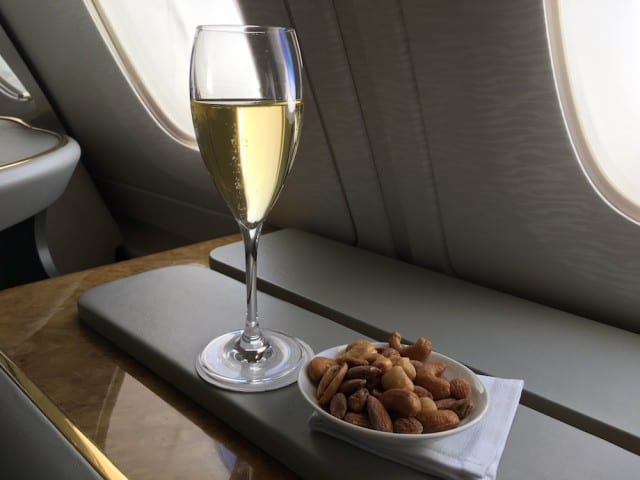 Another glass of Dom with some warmed nuts
