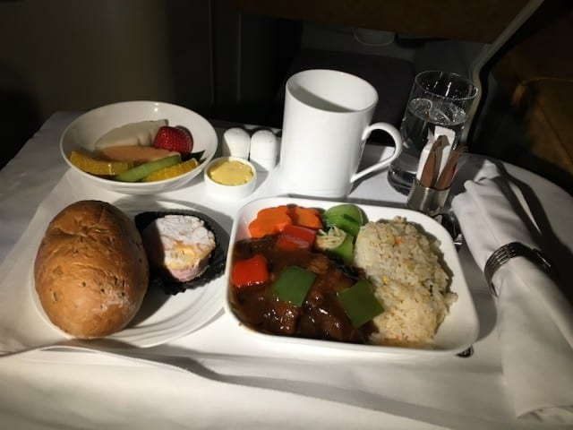 In flight meal is served