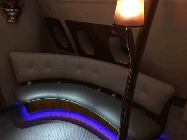 Seating in the in-flight bar