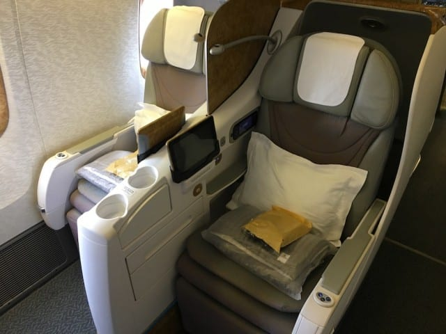 Business class chair on the 777