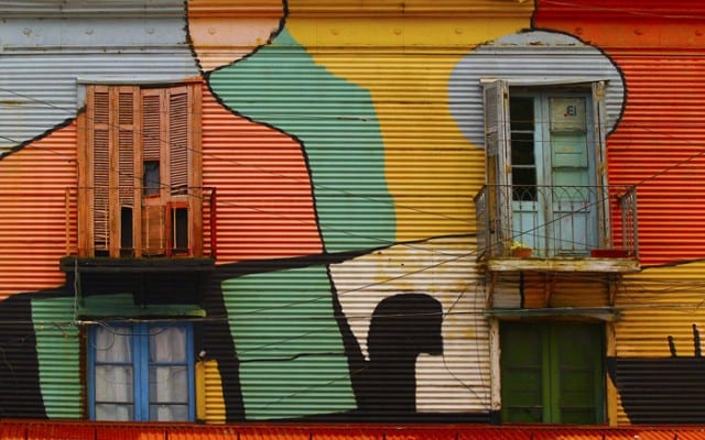 Painted metal wall in Buenos Aires