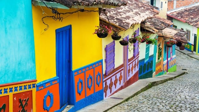 Colorfull doorways on a street in Bogota Colombia