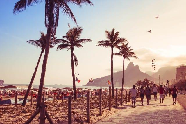 People walking on the beach in Rio De Janeiro
