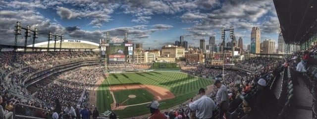 Panoramic picture of packed baseball stadium