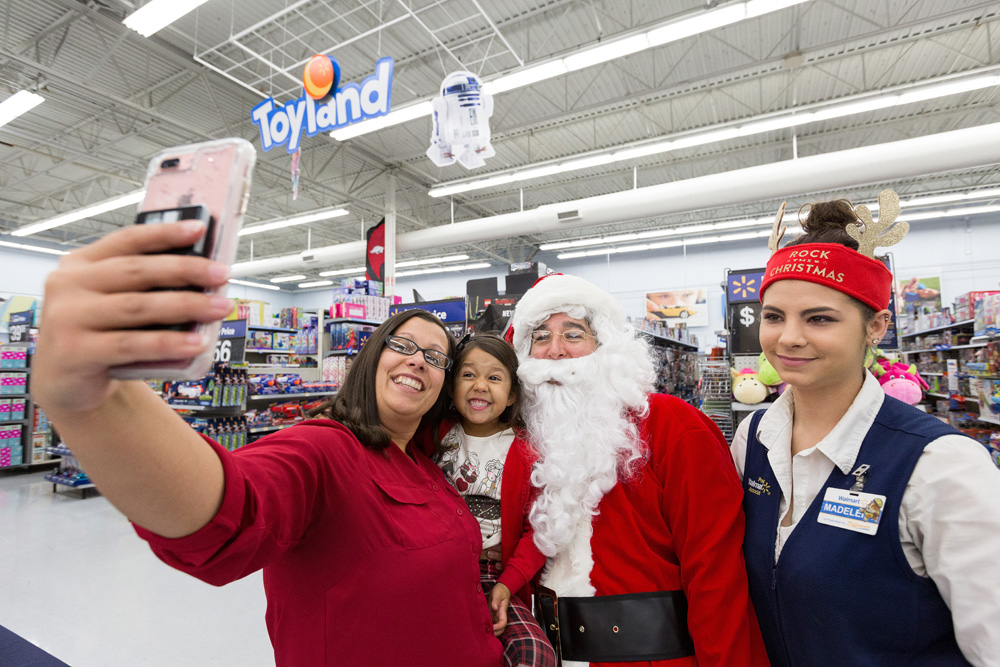 taking a selfie with Santa at Walmart, Brad Deals