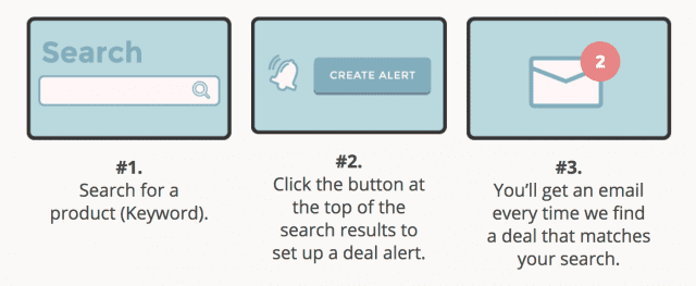 the steps on how to set up deal alerts on Brad's Deals