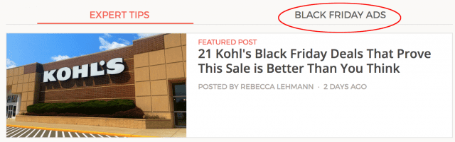 screenshot of the navigation to get to black Friday ads on Brad's Deals