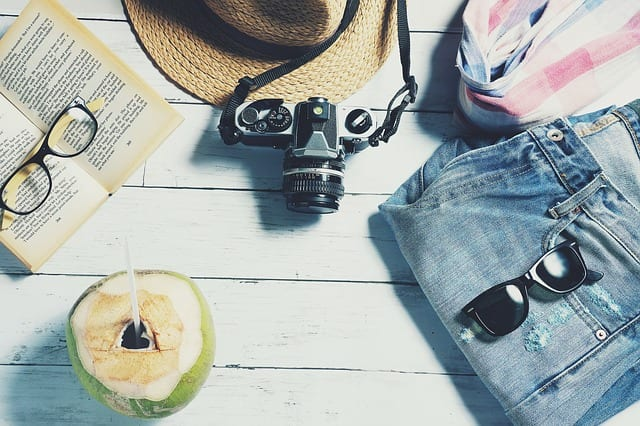 items laid out for a beach vacation