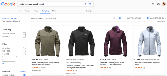 Google search result of North Face jackets