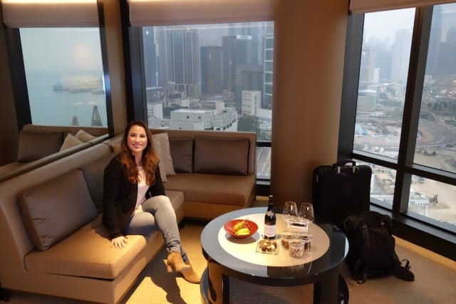 My wife on our honeymoon at the Grand Hyatt Hong Kong!
