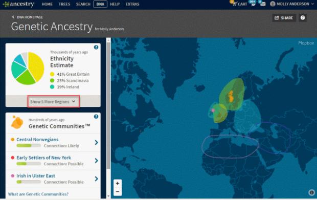 Ancestry DNA screenshot