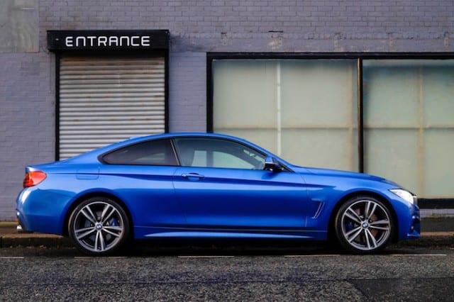 Blue car on a street