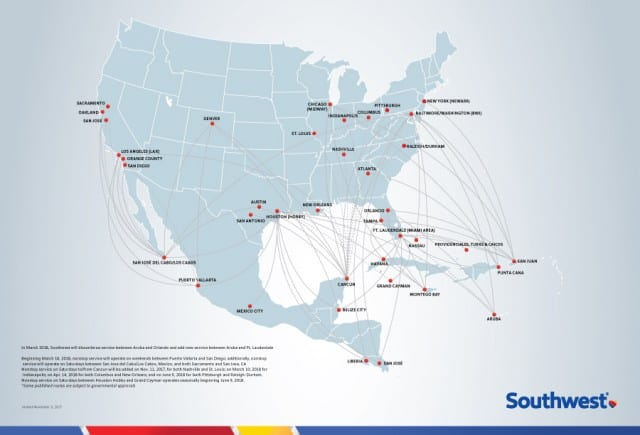 Where does Southwest Airlines fly?