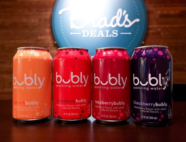 Cans of Bubbly water in the Brad's Deals office